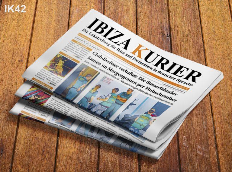 IBIZA KURIER 42/2016 - Aktuelle Nachrichten über Ibiza: Die Geschichte des Pacha, Drohnen verboten, Open Air-Sex, Strand-App, Unterschlagung, Feuerbrigade, Hochspannungsleitungen, Moskitos, Nacktbadestrände, Hundestrand, Sportförderung, Radwege, VIP-Lounges