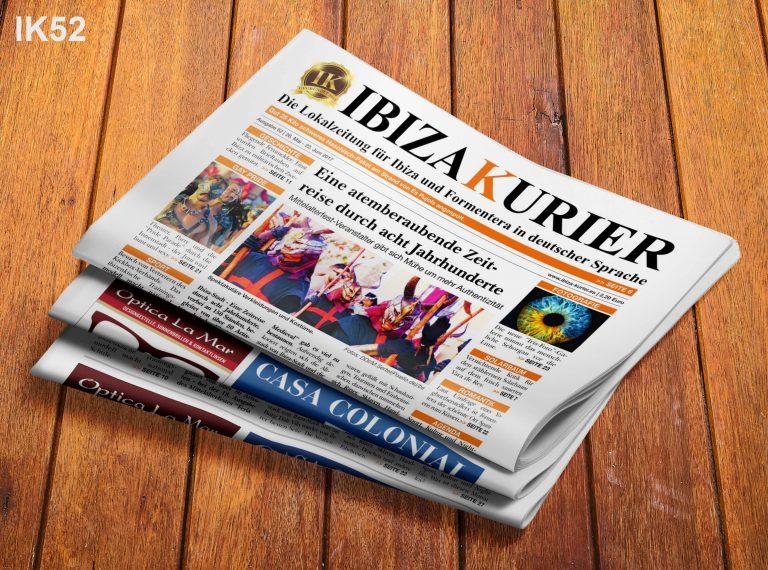 IBIZA KURIER 52/2017 - Aktuelle Nachrichten über Ibiza: Zementwolke, Radwege, Zistrosenwürger, AirBnb, Festival Medieval, Küssen, Iris-Fotos, Musikschule, Ruta del Arte, Gay Pride